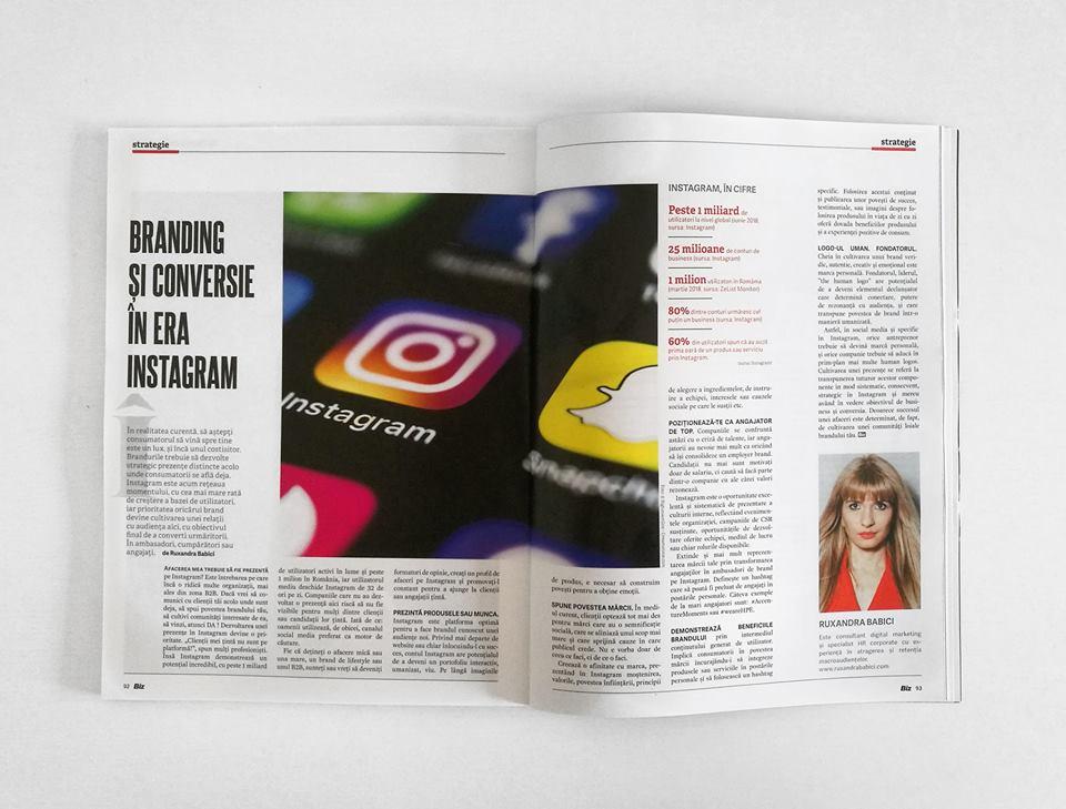 Revista Biz. Strategie de Business. Branding si Conversie in Era Instagram. Ruxandra Babici